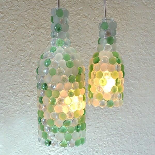 Wine Bottle Glass Pebble Pendant Lights!
