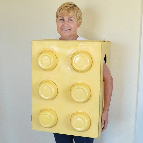 This homemade LEGO costume is super easy to do and costs less than $14!