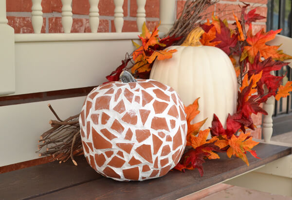 This mosaic terra cotta pumpkin is amazing and easy to make. Lasts forever!