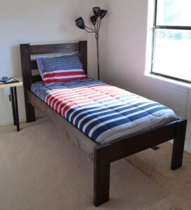 Make a twin size bed from scratch with full tutorial, directions and cut list!