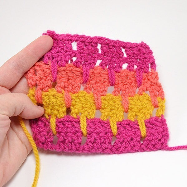 The larksfoot crochet stitch is made up of double crochets and chains. Super easy but lovely pattern.
