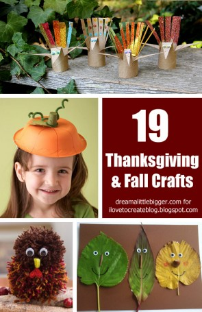 Check out 19 Thanksgiving and Fall Crafts to keep the kiddos busy this month!