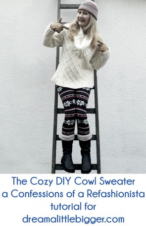 Turn two sweaters into the comfiest DIY Cowl Sweater!