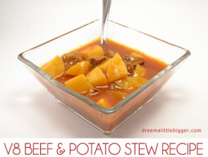 Get your daily veggies without even realizing it! This hearty beef and potato stew recipe uses the goodness of V8 for an extra veggie punch!