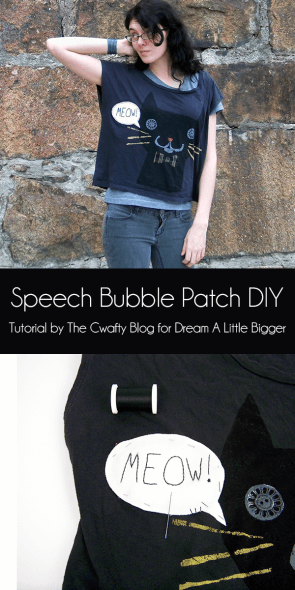 Save that hole-y tee with a super cute speech bubble patch DIY. Meow!