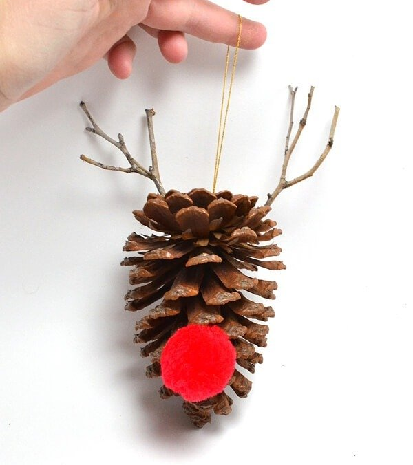 image via dreamalittlebigger meet cute rudolph this simple diy pine cone ornament - Homemade Pine Cone Christmas Decorations