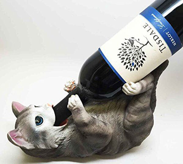 Cute Cat Wine Bottle Holder (would be killer painted gold!) - Amazon.com, $28.50