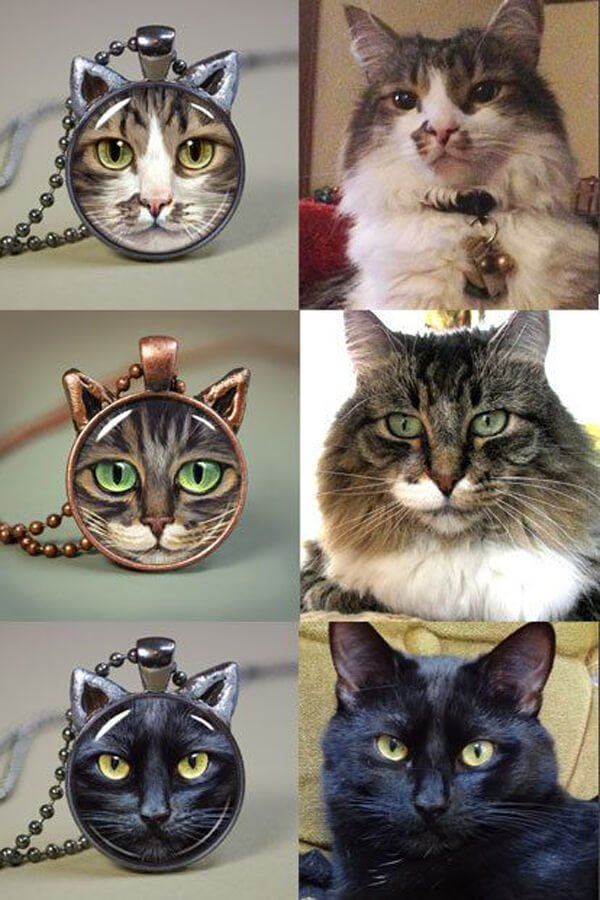 Custom Cat Portrait Pendant - Etsy.com, $38.00