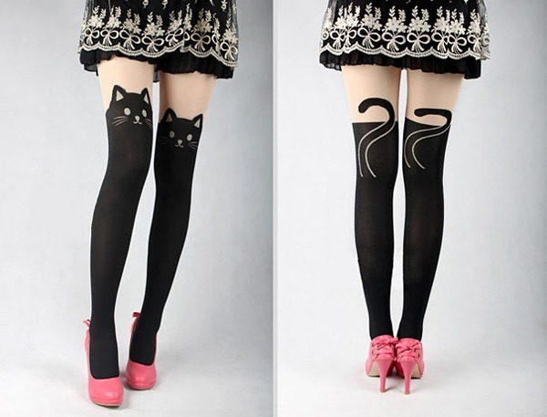 Kitten Print Knee High Sock Style Tights - Amazon.com, $6.99