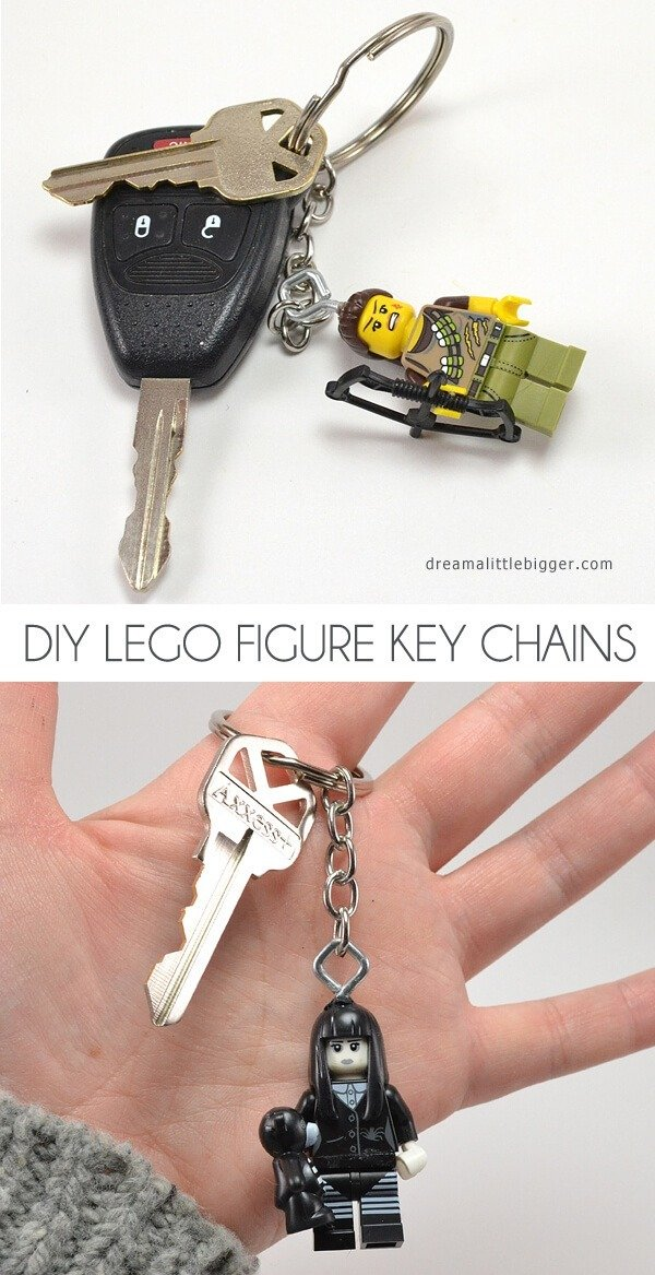 Make These Quick And Easy Lego Figure Key Chains They Fab Gifts