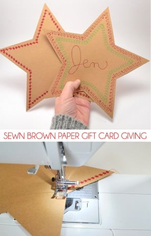 Sewn Brown Paper Gift Card Giving