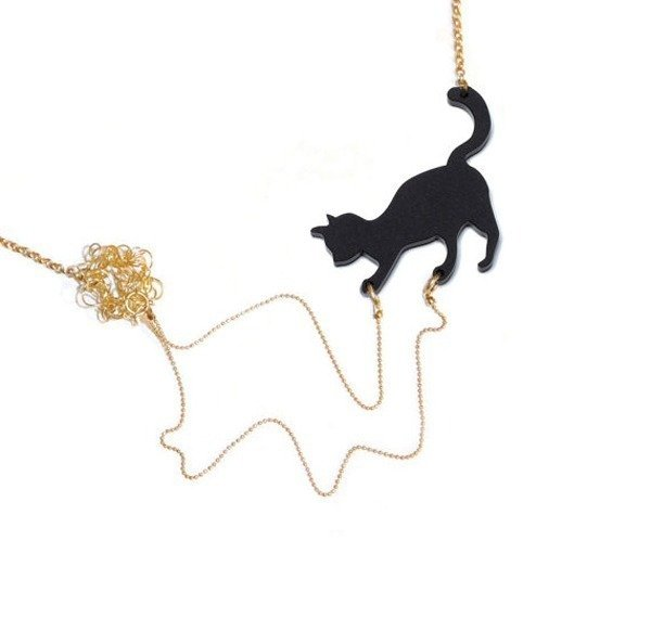 Cat Playing Statement Necklace - Etsy, $58.00