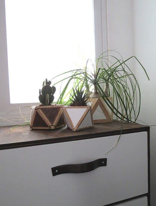 diy plywood geometric planter 9