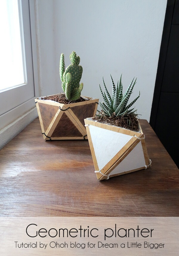 diy plywood geometric planter first pic