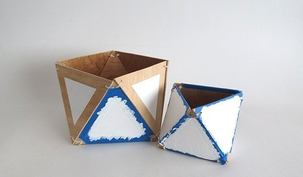 diy plywood geometric planter paint