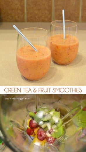 Make sweet, nutritious and super healthy green tea and fruit smoothies!