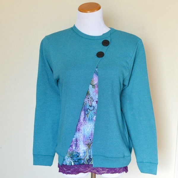 Turn a sweatshirt into a fun, asymmetrical cardigan with scissors and buttons!