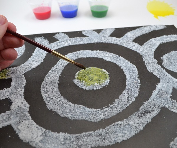Salt paintings are lots of fun for kids and grownups alike!