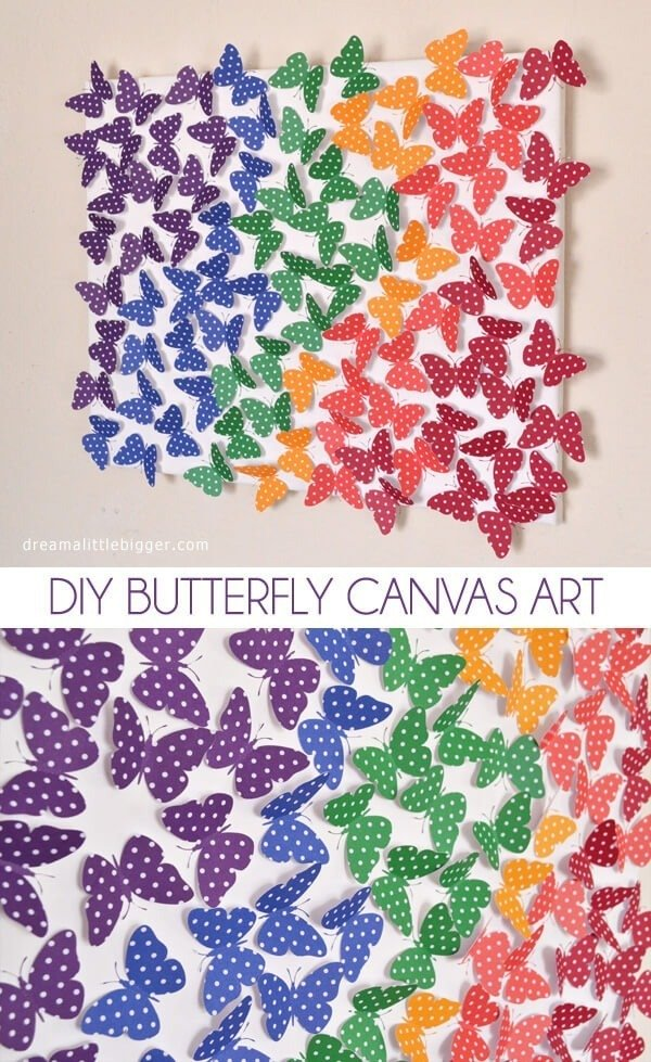 Butterflies pop from the canvas in this fun, DIY wall art!