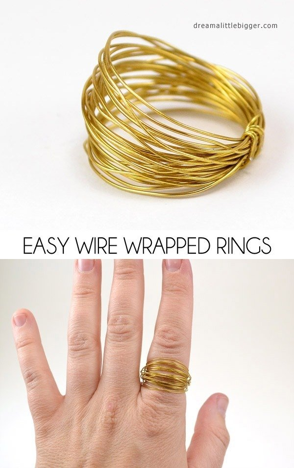 Easy wire wrapped rings diy dream a little bigger no jewelry making skills no problem these wire wrapped rings are very easy solutioingenieria Image collections