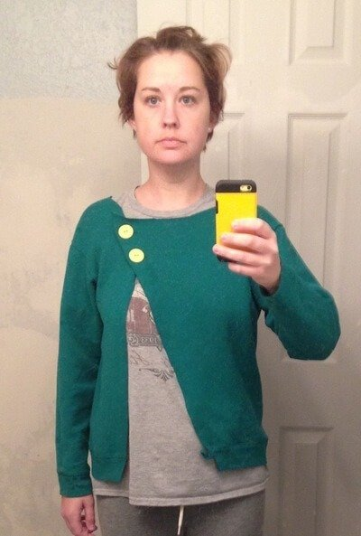 me-Turn a sweatshirt into a fun, asymmetrical cardigan with scissors and buttons!