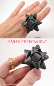 This fancy leather bow ring is a breeze to make. Add these leather bows to hair clips, shoe clips or anything!