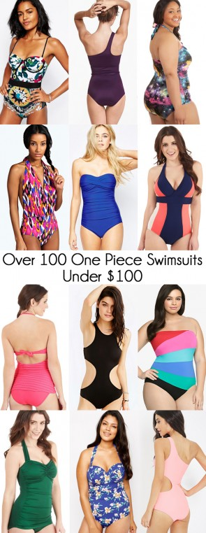 Over 100 one piece swim suits that cost less than $100!