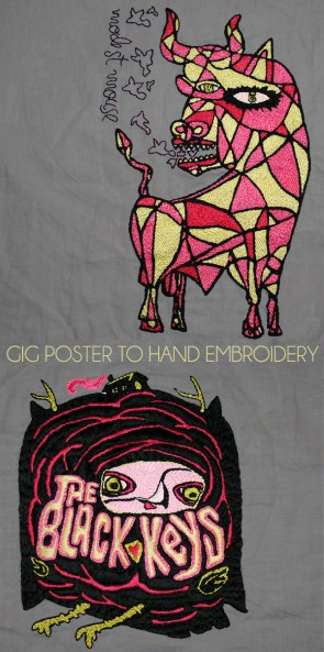 Turn gig posters and album covers of your favorite bands into hand embroidery patterns/pieces.