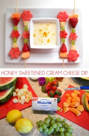 This honey sweetened cream cheese dip is divine! A great sweet treat when you don't want to heat up the kitchen.