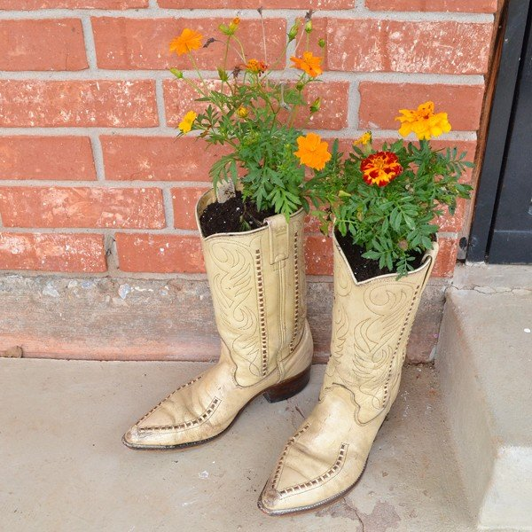 A sweet, rustic addition to your front porch. Like boots left out overnight!
