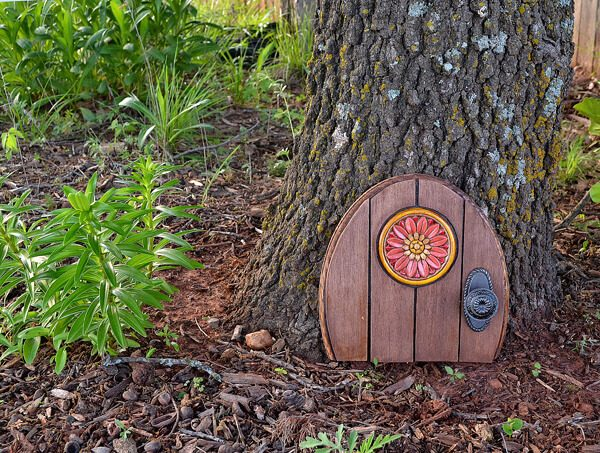 Create a gnome door outdoor decor dream a little bigger for Homemade fairy doors