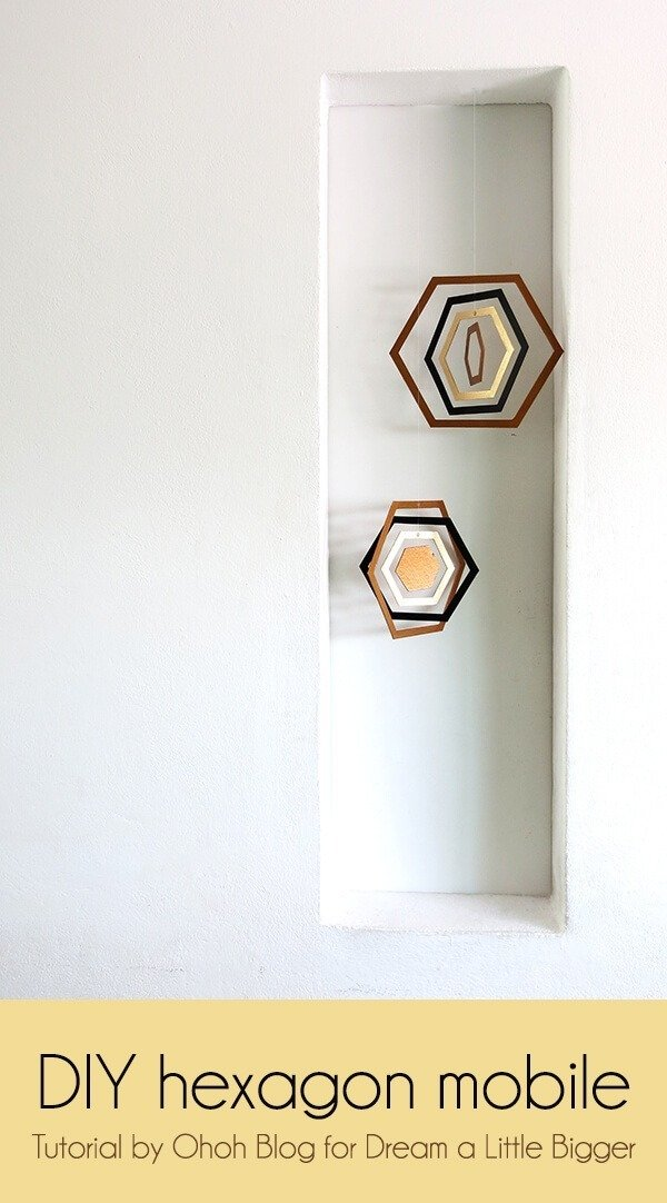 DIY hexagon cardboard mobile
