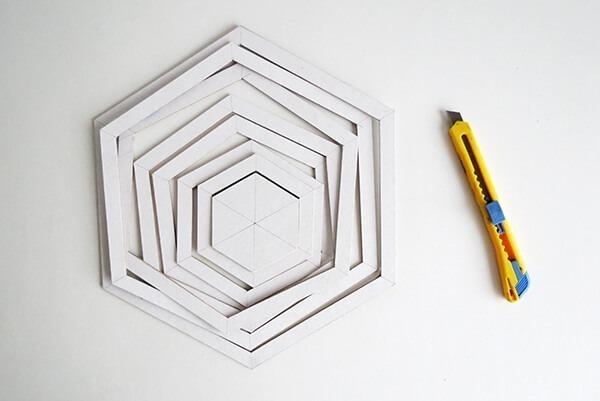 diy hexagon cardboard mobile ohohblog 4