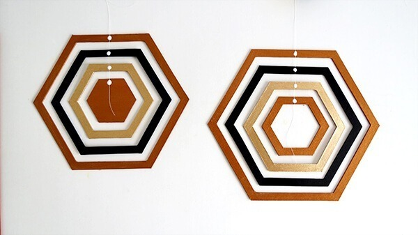 diy hexagon cardboard mobile ohohblog 6