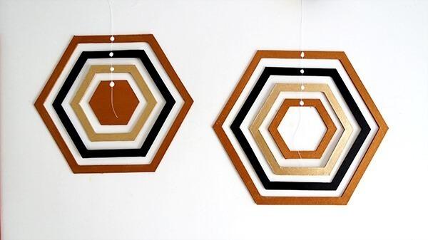 diy hexagon cardboard mobile ohohblog 6