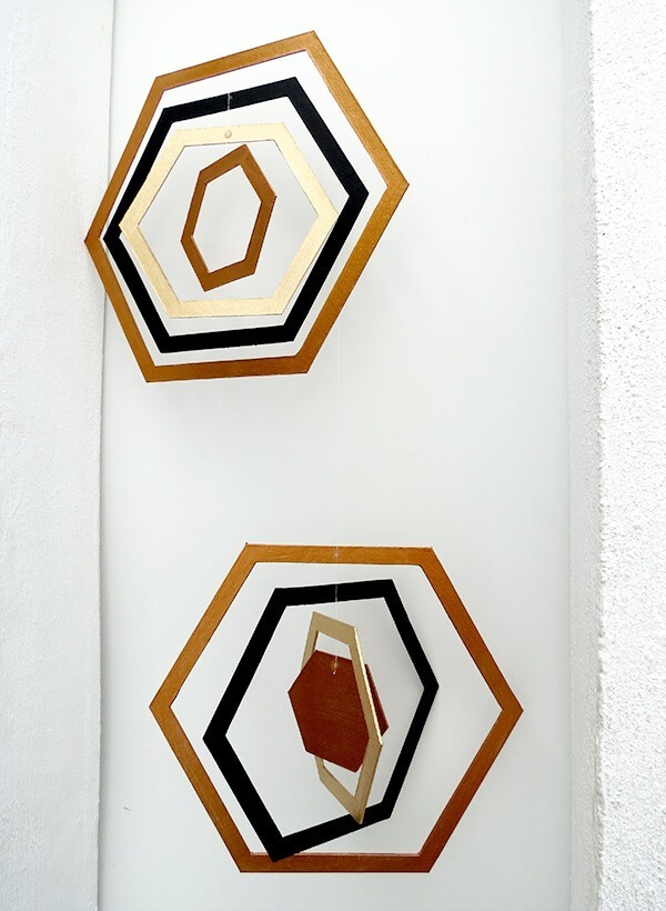 diy hexagon cardboard mobile ohohblog 7