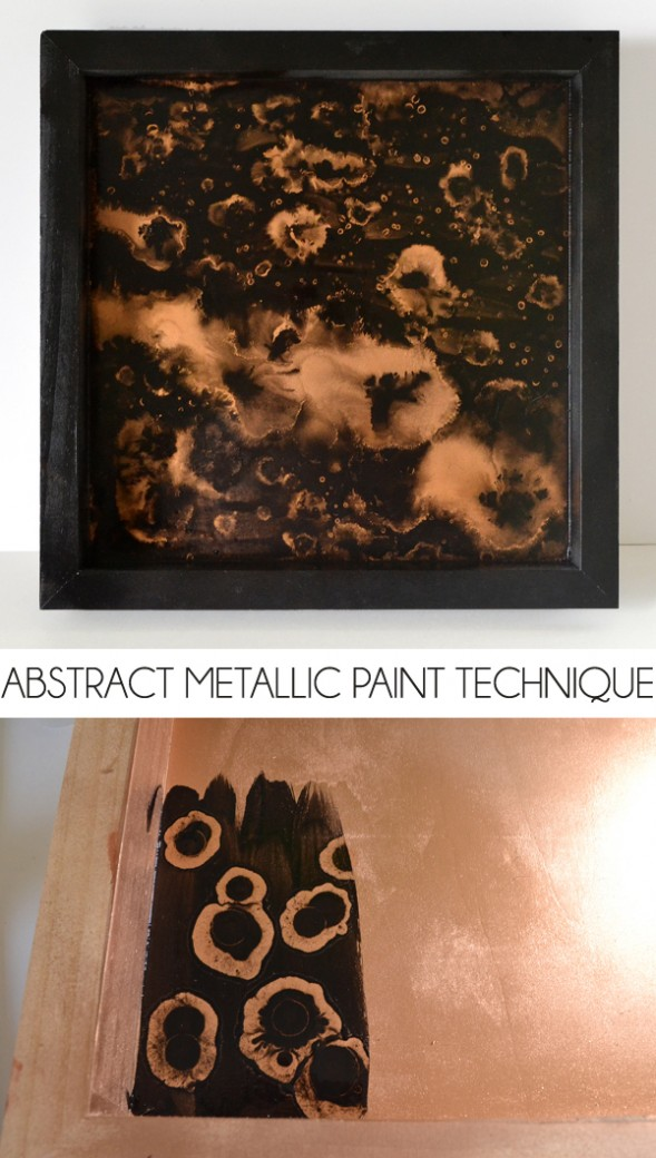 Get an awesome metallic abstract effect with paint and alcohol. Gorgeous! tutorial