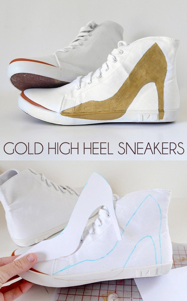 "How fun are these DIY gold ""high heel"" sneakers? Casual glam :)"