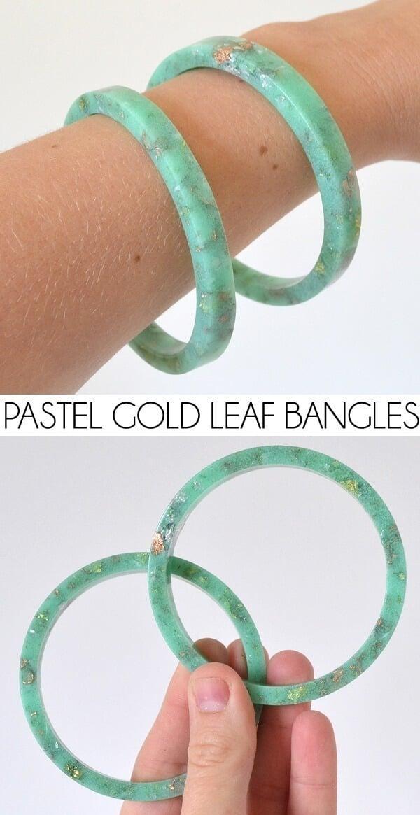 DIY Pastel and Gold Leaf Bangles