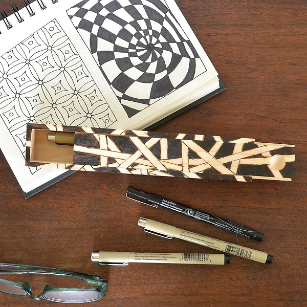 Wood burn or draw on a wood pencil case for a great Zentangle® or sketching case!