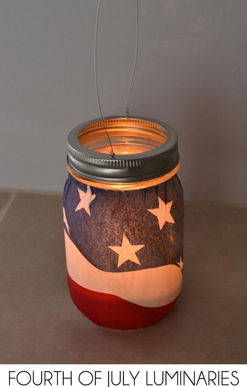 Hanging Mason Jar Fourth of July Luminaries