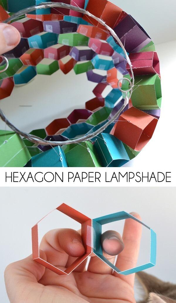 hexagon paper pendant shade
