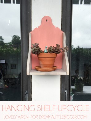 Transform a plain hanging shelf into a cute and colorful potted plant holder! // Lovely Wren for Dream A Little Bigger