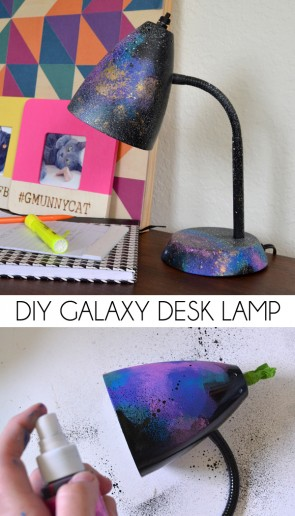 Need a nifty way to light up homework or to do lists? Check out this awesome DIY galaxy desk lamp!
