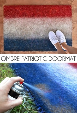 Rock the ombre with this Patriotic doormat. A great last minute decor idea for your Independence Day celebration!