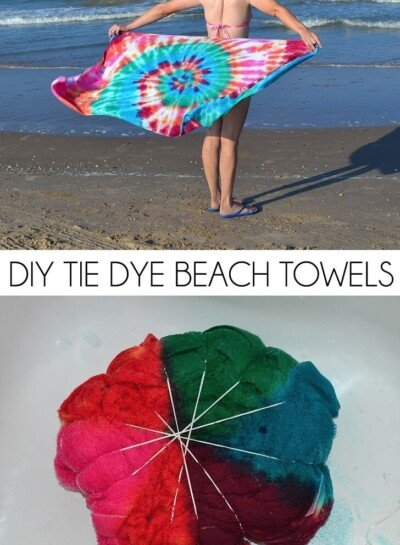Have the most unique beach towel by the water! These DIY tie dye beach towels are easy, fun and so colorful!