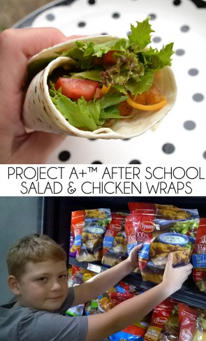 These after school salad wraps with crispy chicken are easy for the kids to make for themselves after school!
