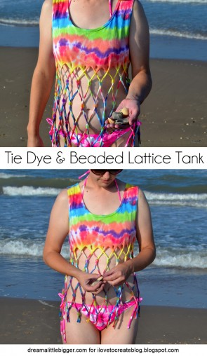 Tie Dyed and Beaded Lattice Tank