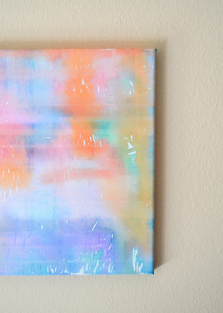This is so easy and turns out so pretty. I love abstract art! The kids can even help out!