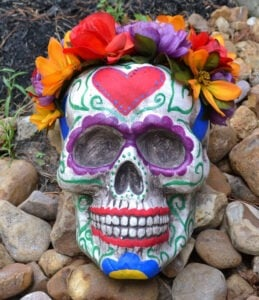 This GIANT sugar skull with a floral crown is so pretty!